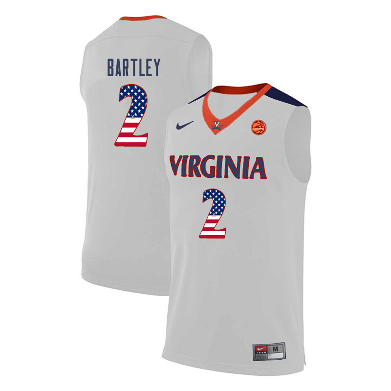 Men Virginia Cavaliers #2 Justice Bartley College Basketball USA Flag Fashion Jerseys-White
